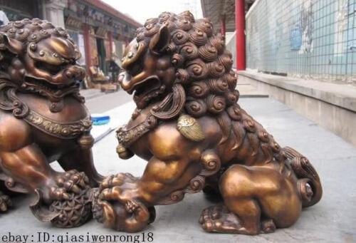 China Feng Shui Bronze Copper Evil Guardian Door Fu Foo Dog Lion Pair
