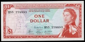 East-Caribbean-Currency-Authority-1965-QEII-1-Pick-13e-UNC
