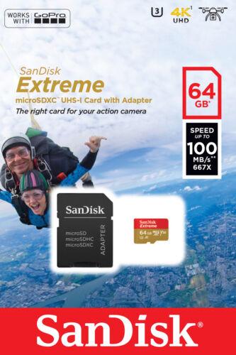 a1 class 10 uhs-3 v30 100mb//s Tarjeta de memoria SanDisk Extreme 64gb microsdxc tarjeta de memoria