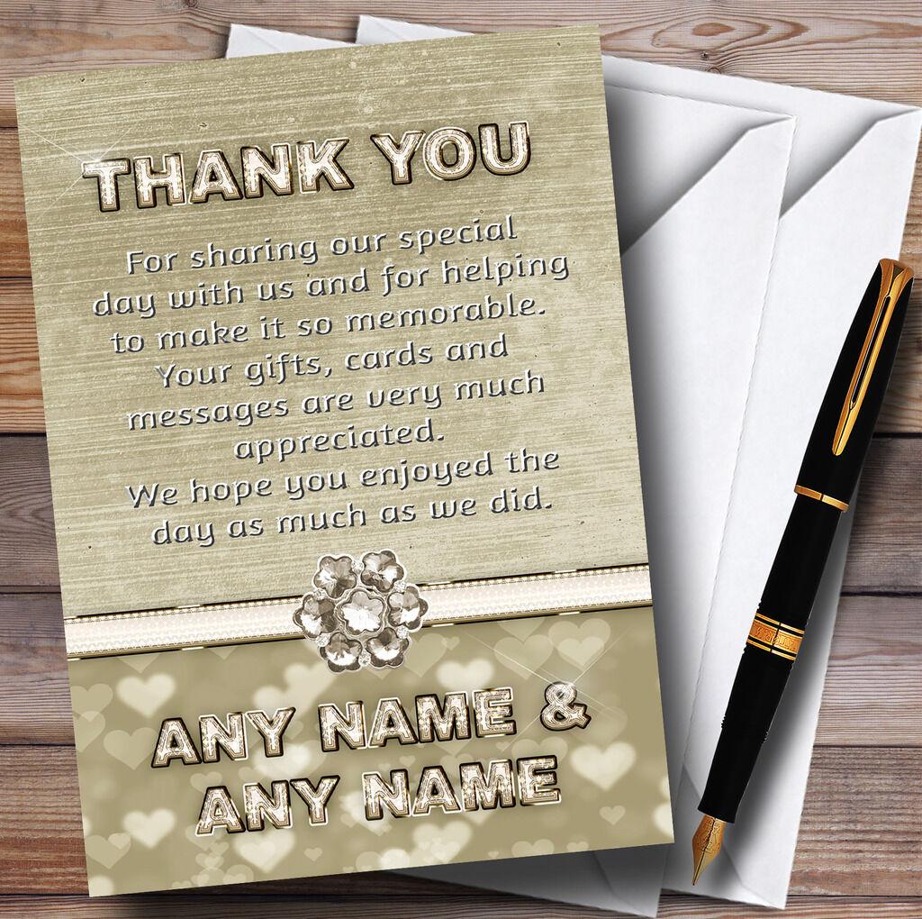 Titanio Y oro blancoo Boda Personalizada Tarjetas De Agradecimiento