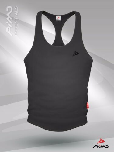 PIMD Essential Male Grey Workout Fitness Gym Stringer Vest in S M L XL