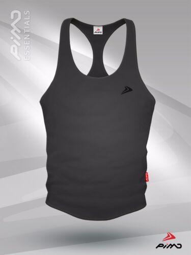 PIMD Essential Male Grey Workout Fitness Gym Stringer Vest in S M L XL
