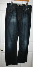 Mens Ed Hardy New York City Blue Distressed Embroidered Jeans Pants Size 33 x 32