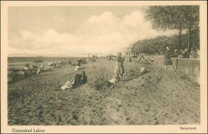 Ansichtskarte-Laboe-Badestrand-Strandleben-Haus-1923