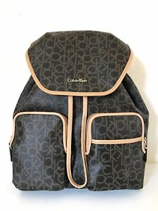 a14ef29f7d Image is loading CALVIN-KLEIN-Travel-Luggage-Backpack-Signature-Monogram-PVC -
