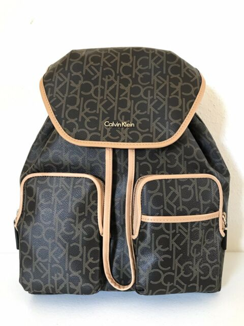 de68b35a9b CALVIN KLEIN Travel Luggage Backpack Signature Monogram PVC Brown Tan