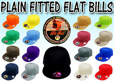 PLAIN FITTED BLANK FLAT BILLS ALL SIZES AND ALL COLORS