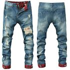 Fashion Men Slim Fit Runway Straight Jeans Denim Pants Destroyed Ripped Trousers