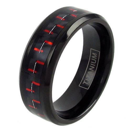 Titanium Men/'s Carbon Fiber Inlaid Center Band Ring Size 7-11 Punk Rings Jewelry