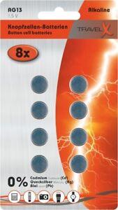 8x Knopfzellen Batterien AG13, LR44 auf Blisterkarte 1,5 V