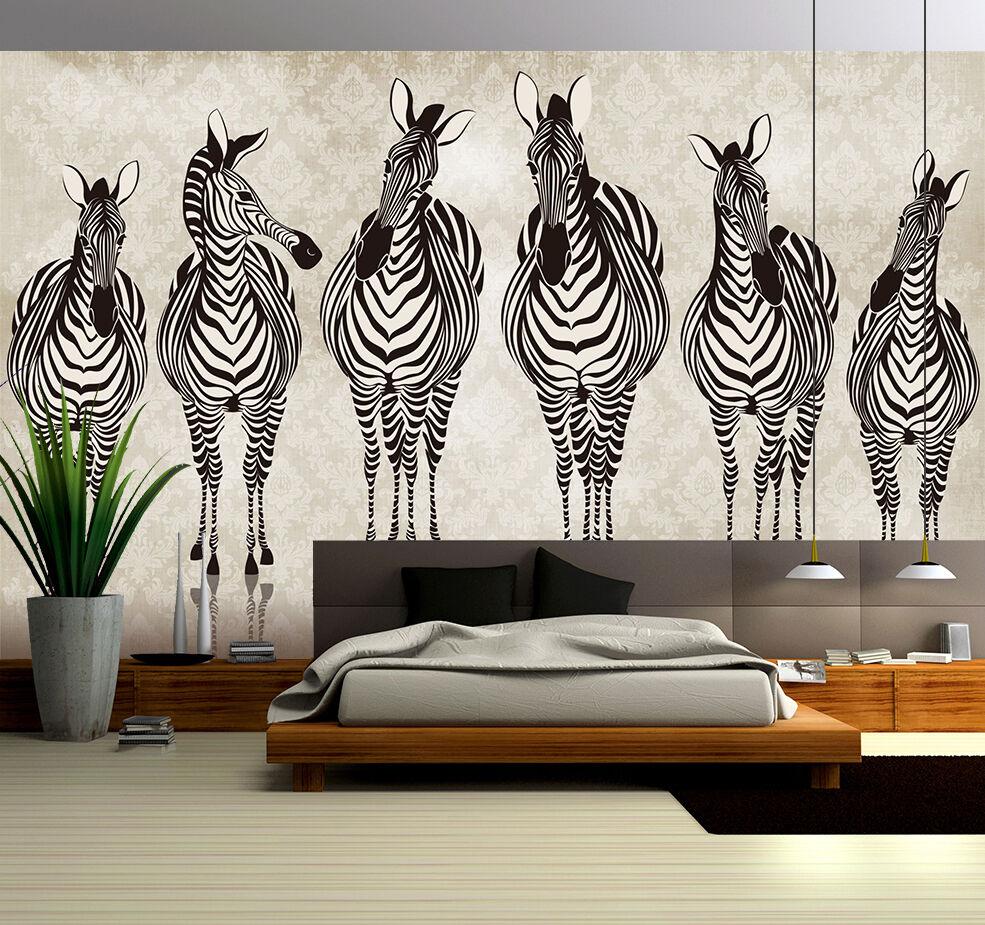 3D Zebra,Cavallo Parete  Murale Foto Carta da parati immagine sfondo muro stampa