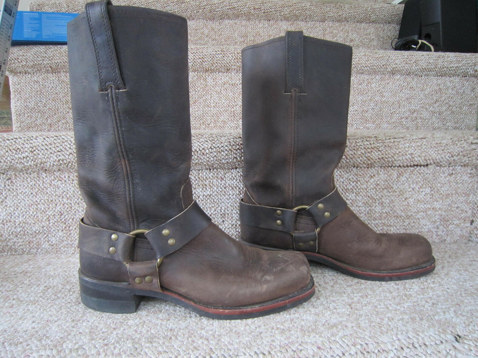 FRYE Brown Leather Boots Harness Biker Riding 87350 Motorcycle Cowboy 8.5M USA