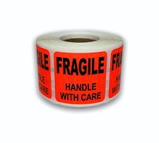 1 Roll 15x15 Brred Fragile Handle With Care Shipping Stickers 500 Labels
