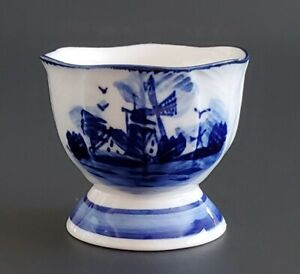 Porcelain Delfts Blue Egg Cup Hand Painted Delft Blue White Leaf Windmill 1 3/4""