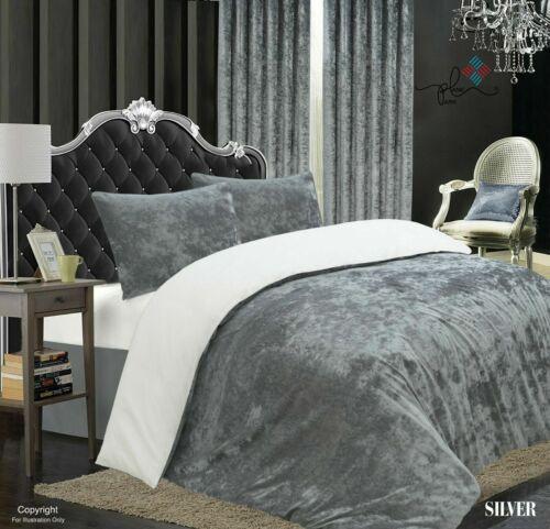 Crushed Velvet Quilt Duvet Cover Set Bedding Single Double King Super King Size