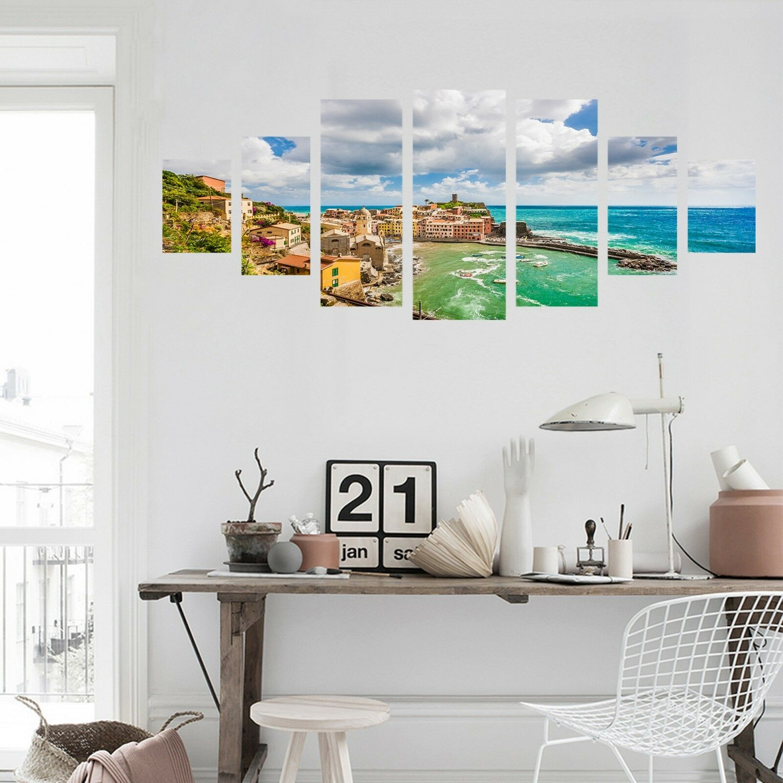 3D Coastal Village Clouds 123 Unframed Print Wall Paper Deco Indoor AJ Summer