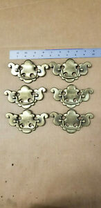 Lot-6-VTG-Antique-Brass-Finish-Dresser-Drawer-Pulls-Chippendale-B-512-3-5-034-CTC