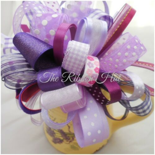 10 X 1 Mtr Bundle of Shades of Purple Mixed Ribbon Off Cuts Embellishments Craft