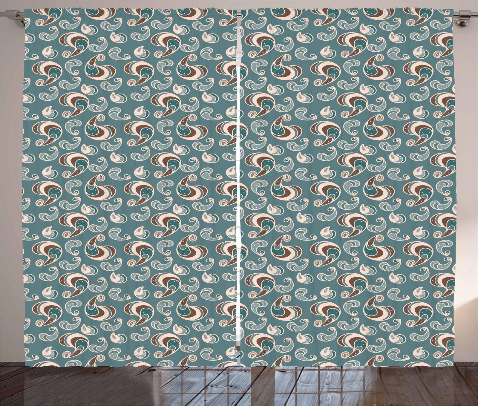 Cortinas Marrón Y Azul 2 Panel Set para Decoración 5 Tamaños Disponibles Ventana Cortinas