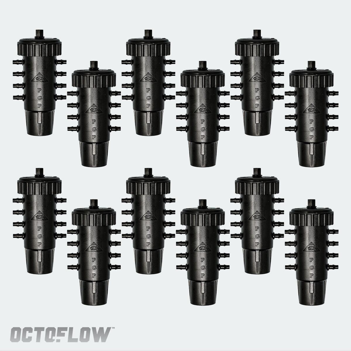 Obtenga 12 Nuevo Octo-YOU flujo de 8 puertos de varios litros por hora colector de riego de agua ajustable