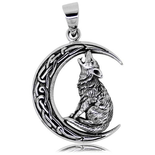925 solid Sterling Silver Wicca Neo Pagan Wolf howling in the Moonlight pendant