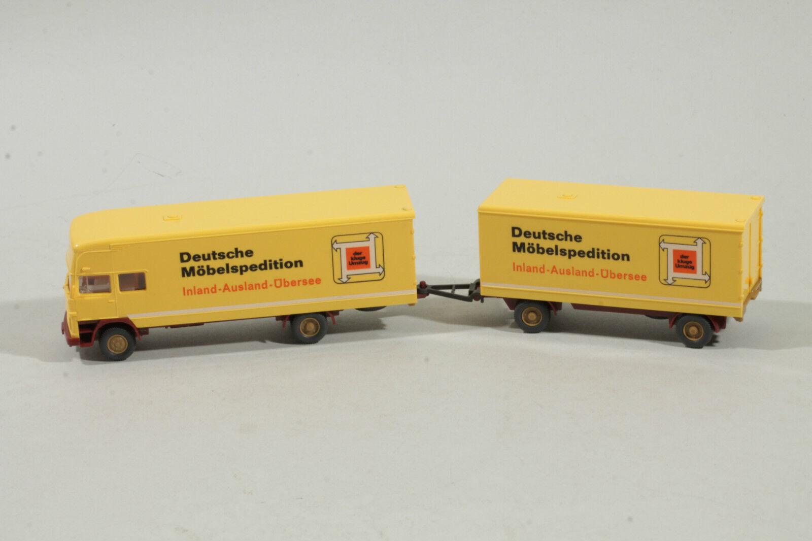 2300 Wiking Mercedes LP 1620  Deutsche Möbelspedition  mit Anhänger 1976   gelb