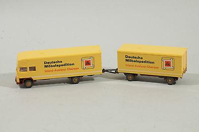 """2300 Wiking Mercedes Lp 1620 """"deutsche Mobili Corriere"""" Con Rimorchio 1976/giallo-"""" Mit Anhänger 1976 / Gelb It-it Mostra Il Titolo Originale"""