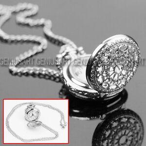 Heißer Antiken Charme Silber Hohl Quarz Taschenuhr Anhänger Halskette Kette