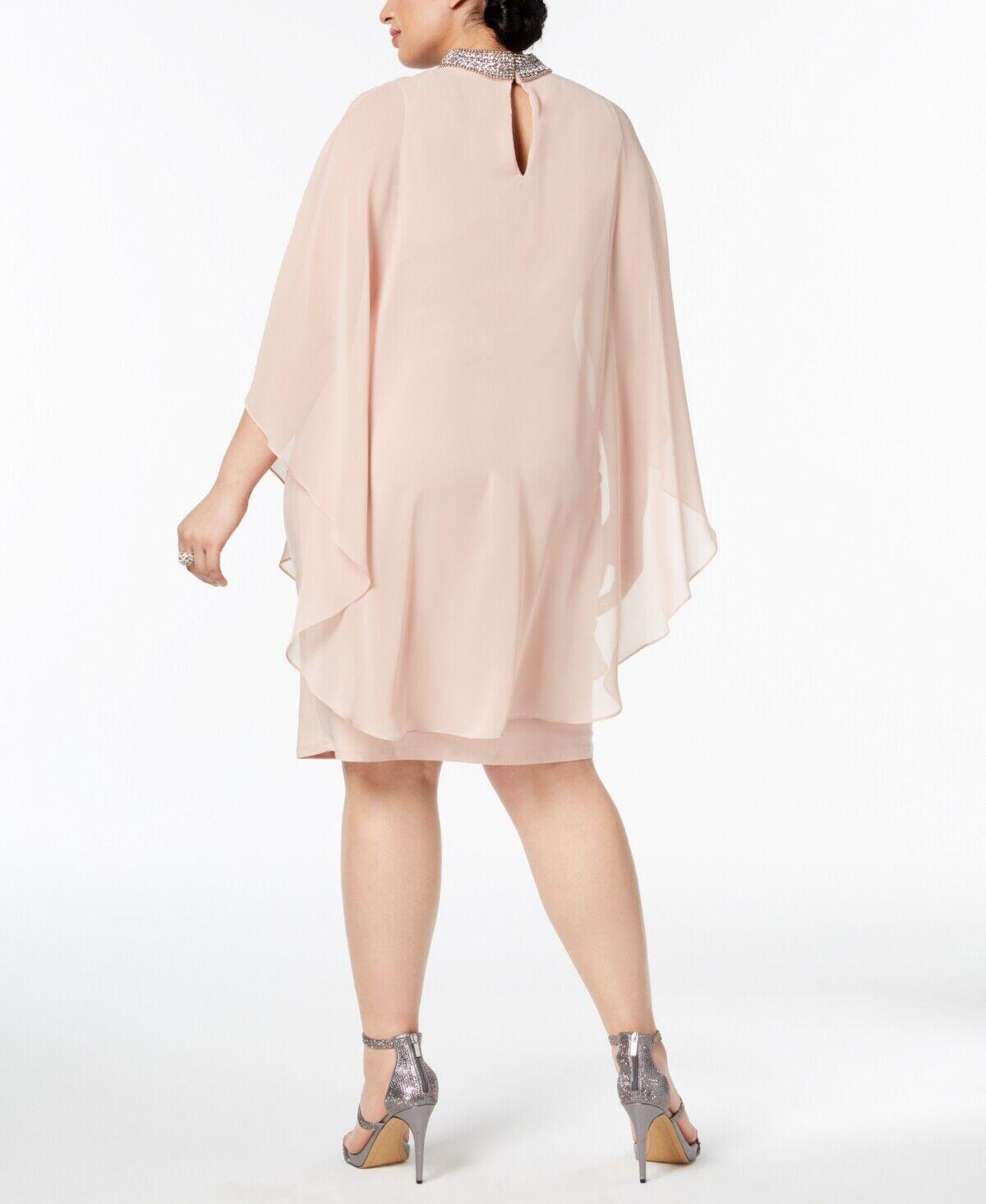 Xscape Womens Pink Chiffon Overlay Jeweled Cocktail Dress Plus 18W BHFO 9637