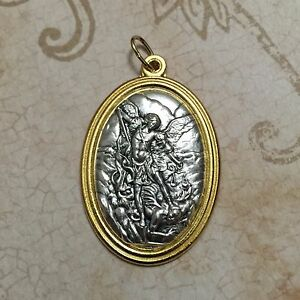 1 12 saint st michael the archangel oval medal pendant catholic image is loading 1 1 2 034 saint st michael the aloadofball Images
