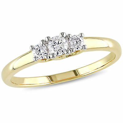 Amour 1/4 CT TW Diamond 3-Stone Engagement Ring in 10k Yellow Gold