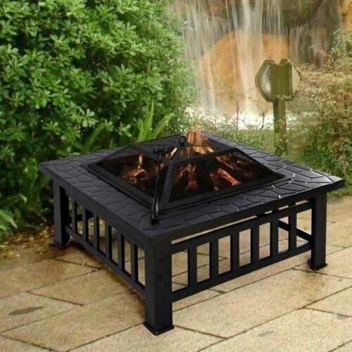 Pozo de fuego jardín cuadrada con cubierta de parrilla barbacoa de gran Calentador al aire libre & Estufa Patio