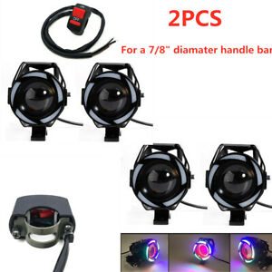 Multi Color Halo LED Motorcycle Headlight Spot Lamp White Light Projector Lens