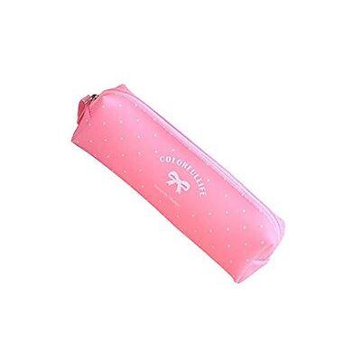 Trousse à crayons, trousse scolaire en silicone gel série bonbon pastel (Rose)