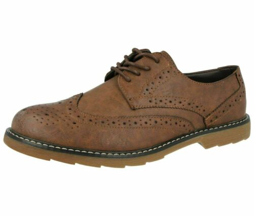 Mens Faux Leather Shoes Smart Formal Wedding Office Lace Up Designer Brogues