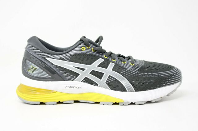 Asics Womens Gel Nimbus 21 1012A156 Gray Yellow Running Shoes Lace Up Size 8.5