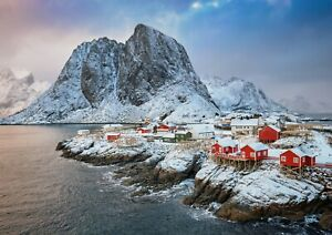 A1-Hamnoy-Fishing-Village-Norway-Poster-Art-Print-60-x-90cm-180gsm-Gift-16380