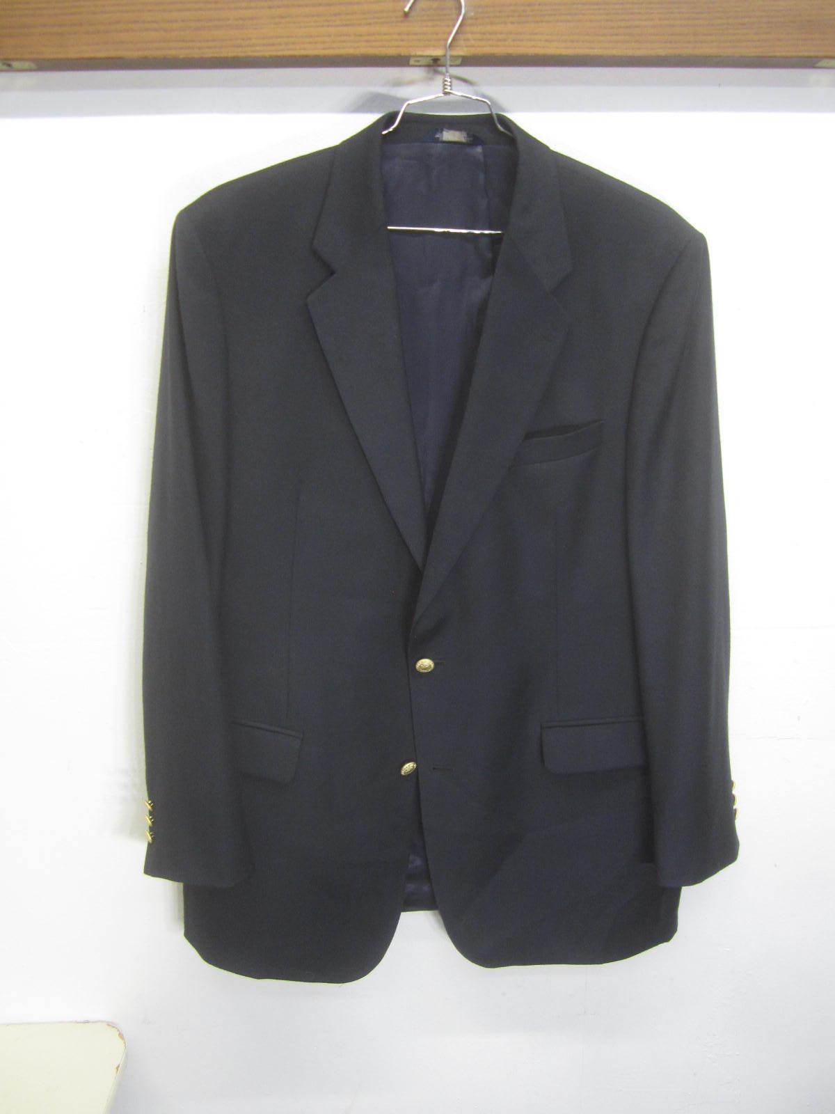 EUC  Brooks  Brougehers 346 Blazer Sport Coat noir wool cashmere 2 btn sz 44L