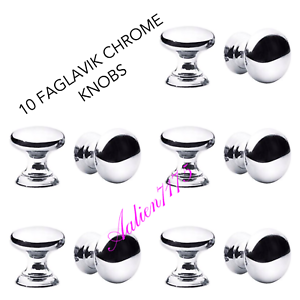Image Is Loading IKEA FAGLAVIK Chrome Plated Knobs Lot Of