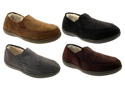 MENS SLIPPERS MOCCASINS MULES FAUX SUEDE FUR LINED FAUX SHEEPSKIN SHOES 7-12