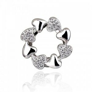 18K-WHITE-GOLD-PLATED-amp-GENUINE-AUSTRIAN-CRYSTAL-HEART-SCARF-CLIP-OR-BROOCH