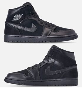 AIR JORDAN 1 MID RETRO MEN s BASKETBALL BLACK - DARK GREY AUTHENTIC ... 7c6f79e88