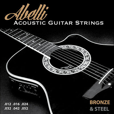 Abelli Studio Acoustic Guitar Strings, Light Gauge 12-52