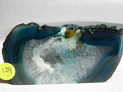 AG129 Large Agate Crystal Hollow Green Geode Great Gift Home Art Décor 656g