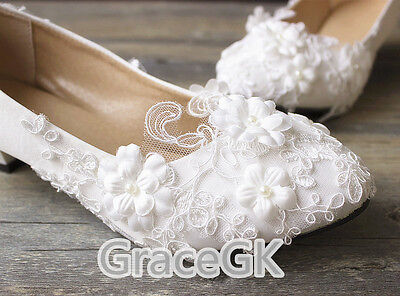 Lace White Ivory Flower Wedding Shoes Bridal Flats Low High Heel