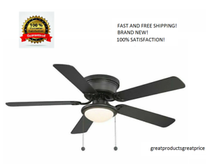 Harbor-Breeze-Armitage-52-in-Bronze-LED-Indoor-Flush-Mount-Ceiling-Fan-with-Kit