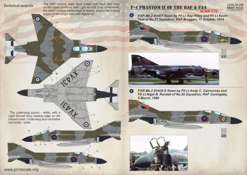 Imprimé échelle 1//72 McDonnell F-4 Phantom II de la RAF /& FAA # 72188