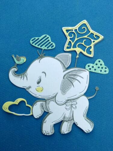 "/""LITTLE STAR/""  8 Baby elephants New baby//Birthday see postal discount"