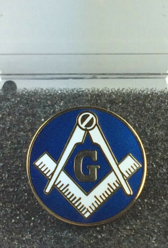 Masonic Large Round Crest with G Gold Plated Enamel Lapel Pin Badge In Gift Box