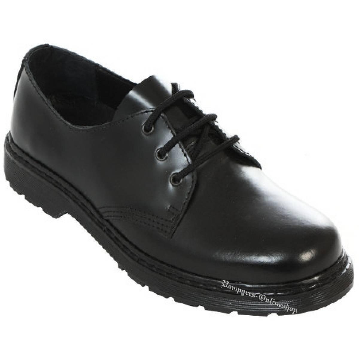 botas & Braces 3-Loch Easy Easy Easy Zapatos Negro Leder HalbZapatos Negro Nero Noir cb45c1